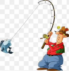 Fishing Red Clothes Fishing Rod Material - Fisherman Cartoon Fishing Illustration PNG