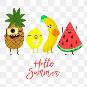 Happy Cute Summer Fruit Creative Illustrations - Summer Fruit Watermelon Banana Pineapple PNG