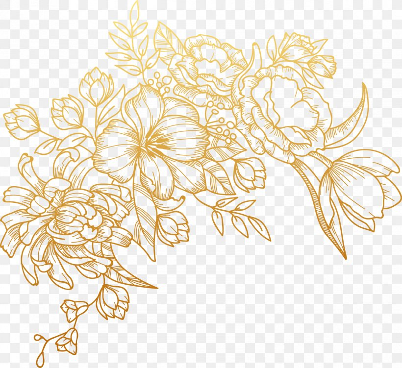 Euclidean Vector Flower, PNG, 1682x1542px, Flower, Flora, Floral Design, Flowering Plant, Gold Download Free
