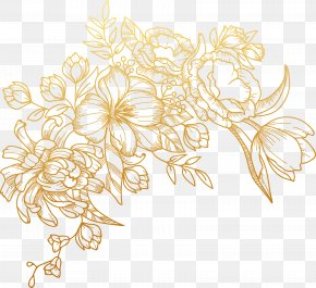 Vector Painted Golden Flowers - Euclidean Vector Flower PNG