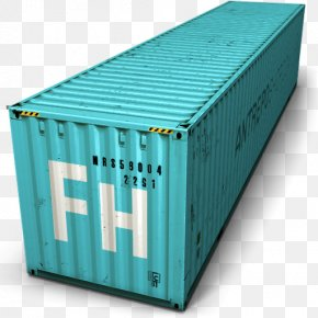 Blue Cargo Container Icon - Intermodal Container Cargo PNG