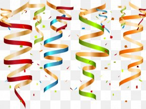 Colored Confetti And Ribbons - Birthday Cake Greeting Card Clip Art PNG