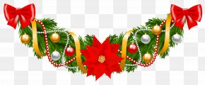 Christmas Pine Deco Garland With Poinsettia Clipart Image - Christmas Garland Santa Claus Clip Art PNG