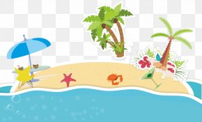 Cartoon Fresh Summer Beach - Cartoon Clip Art PNG