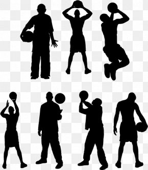 Basketball Players Silhouette - Basketball Player Sport Silhouette Athlete PNG