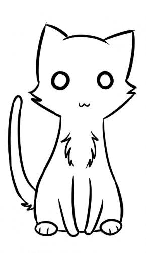 Cat Line Art - Kitten Cat Line Art Whiskers Clip Art PNG
