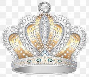 Silver Gold Diamond Crown Clipart Image - Crown Diamond Clip Art PNG