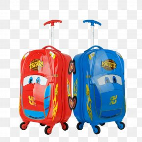 Two Cartoon Suitcase - Hand Luggage Suitcase Car Baggage Travel PNG