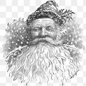 Santa Claus - Santa Claus Black And White Christmas Sketch PNG