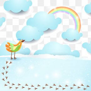 Birds And Rainbow Color Clip Art Vector Material - Euclidean Vector Bird Light Cloud Rainbow PNG