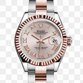 Pink Rolex Watches Female Form - Rolex Datejust Automatic Watch Diamond PNG