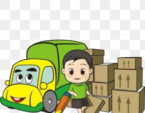 Cartoon Car Goods - Cargo Driver Logistics Courier Freight Company PNG