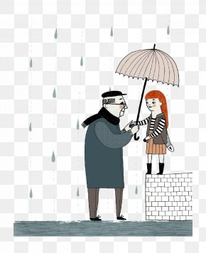 Cartoon Rainy Weather - Cartoon Human Behavior Umbrella Illustration PNG
