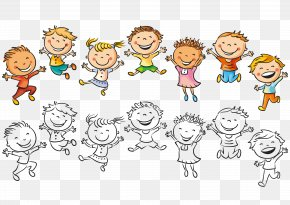 Vector Jumping Children - Child Drawing Happiness Illustration PNG