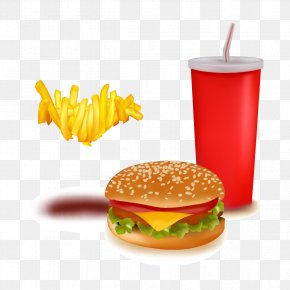 Vector Burger Fries Cola - Hamburger Fast Food Soft Drink French Fries PNG