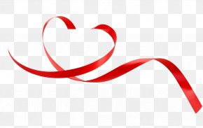 Red Love Ribbon Decoration - Heart Red Ribbon Love PNG