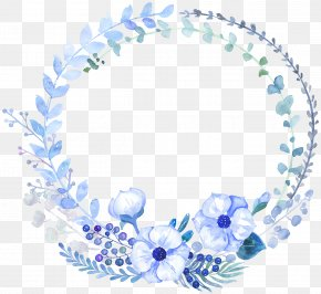 Painting - Watercolour Flowers Watercolor Painting Floral Design Blue PNG