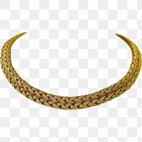 Necklace - Necklace Choker Jewellery Chain Colored Gold PNG