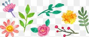 Cartoon Watercolor Floral Decoration - Floral Design Flower Watercolor Painting PNG