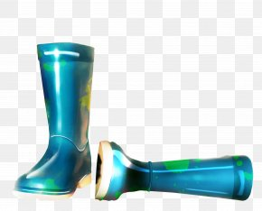 Blue Hand-painted Rain Boots Material Free To Pull - Color Rain Blue Wellington Boot PNG