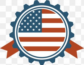 Blue Serrated Round Badge - Flag Of The United States Royalty-free PNG