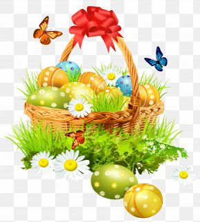 Easter Basket With Eggsand Butterflies Clipart Picture - Easter Computer File PNG
