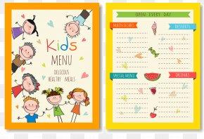 Vector Children's Menu - Hamburger Drawing Kids Meal Menu PNG