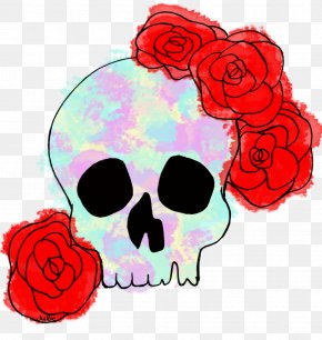 Skull - Garden Roses Skull Floral Design Watercolor Painting Clip Art PNG