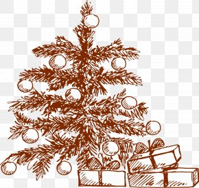 Hand-painted Gift Christmas Tree Pattern - Drawing Gratis Gift PNG