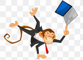 Playing Computer Monkey - Ape Computer Monkey Clip Art PNG