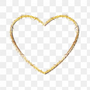 Gold Heart-shaped Frame - Right Border Of Heart Gold PNG