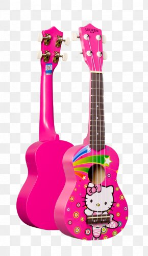 Rose Red Hello Kitty Guitar - Hello Kitty Stratocaster Electric Guitar Ukulele PNG
