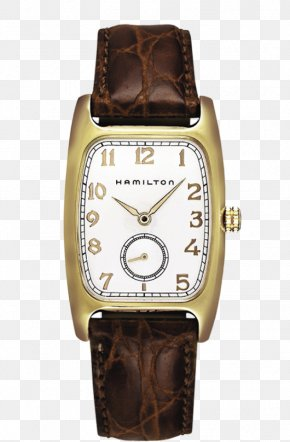 Hamilton Watch Watch Gold Coffee Color Female Form - Hamilton Watch Company Strap Leather Quartz Clock PNG