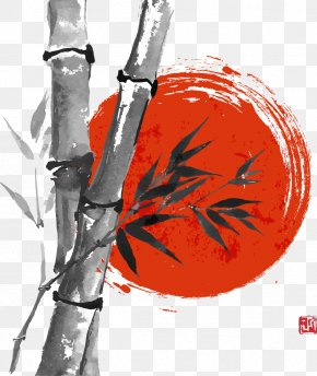 Hand-painted Bamboo - Paper Drawing Bamboo Ink Wash Painting PNG