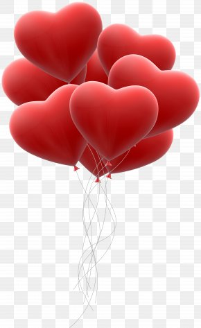 Red Hearts Balloon Bunch Transparent Clip Art - Heart Red Clip Art PNG