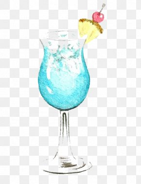 Juice - Blue Hawaii Juice Cocktail Watercolor Painting Blue Lagoon PNG