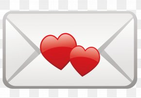 Red Heart-shaped Envelope - Red Heart PNG