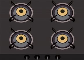 Black Gas Stove - Gas Stove Kitchen Hearth PNG
