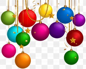 Hanging Christmas Balls Decor Clip Art - Christmas Ornament Clip Art PNG