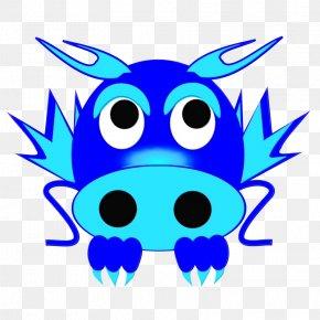 Electric Blue Snout - Blue Cartoon Head Snout Line PNG