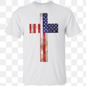 T-shirt - T-shirt Flag Of The United States Flag Of The United States Christian Cross PNG