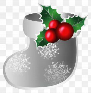 Transparent Christmas Silver Stoking Clipart - Christmas Ornament Clip Art PNG