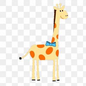 Cartoon Giraffe Wearing A Bow - Northern Giraffe Clip Art PNG