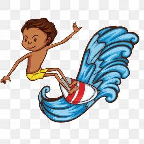 Vector Boy Surfing Illustration - Stock Illustration Sport Illustration PNG