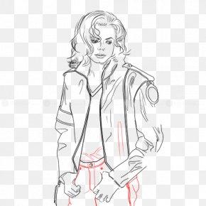 Drawing Of Michael Jackson Moonwalk - Sketch Line Art Figure Drawing Cartoon PNG