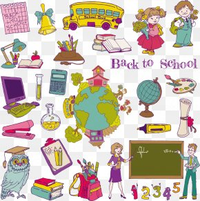 Hand-drawn Cartoon School Supplies Vector Material Download, Blackboard, - Student School Cartoon Illustration PNG