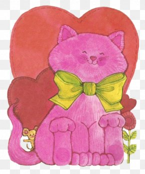 Valentines Day Greetings - Cat Magenta Whiskers Flower Violet PNG