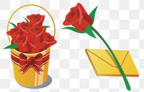 Qixi Rose - Flower Bouquet Bucket Rose Clip Art PNG