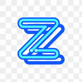 Blue Uppercase Fluorescent Letter Z - Letter Case Z All Caps PNG
