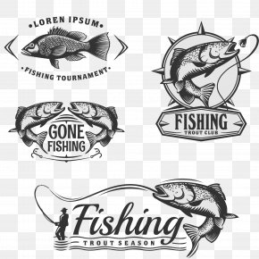 Black Fishing Label Vector - Fly Fishing Angling PNG